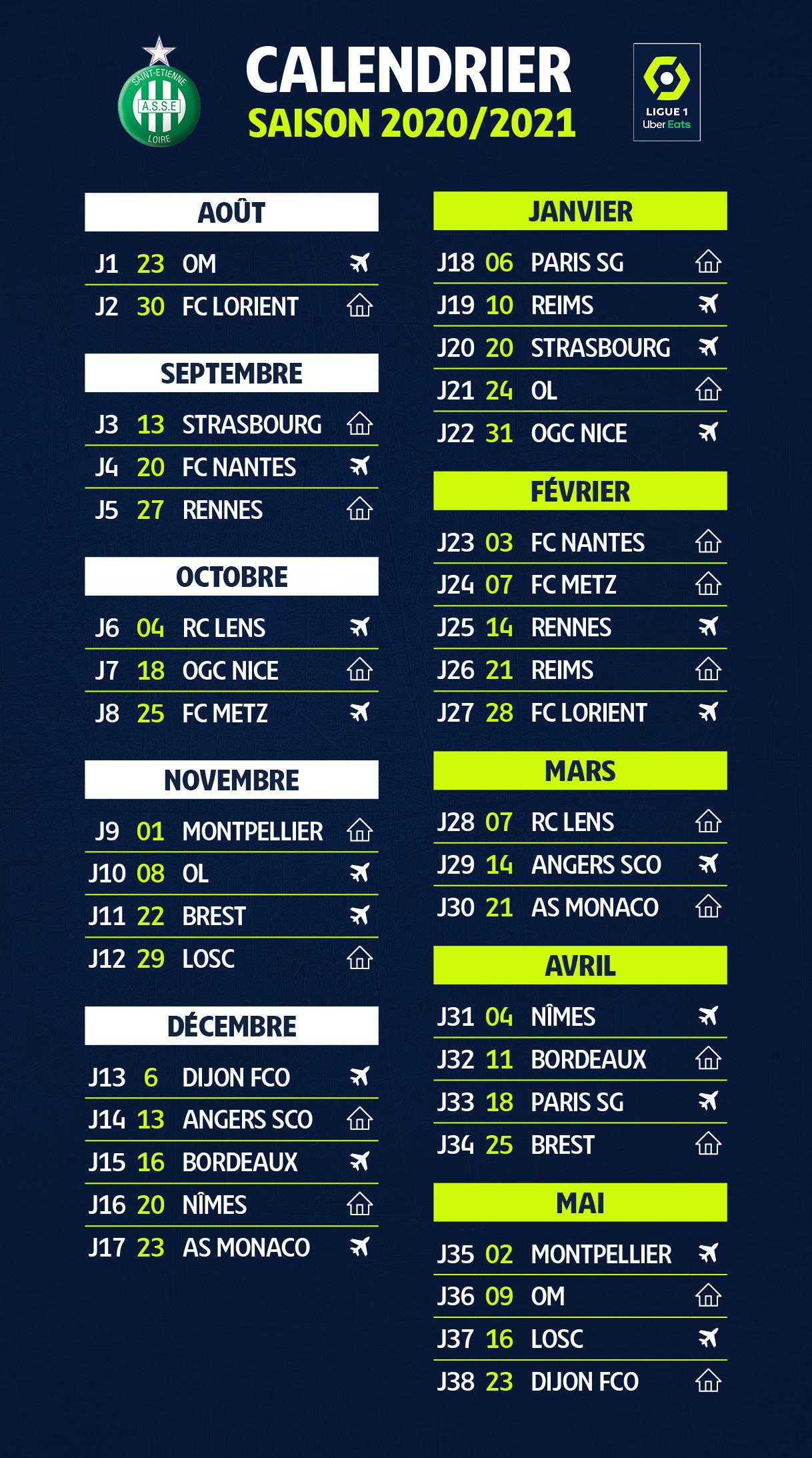Ligue 1 : le calendrier de l'ASSE pour la saison 2020 2021   TL7